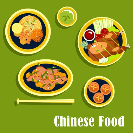 soy sauce: Chinese food with asian dinner including beijing duck, served on lettuce with tomatoes, cucumbers, green onion and sauce, noodles with shrimps, lemon and vegetables, salad with beans, egg custard tarts, cup of green tea. Flat style cuisine dishes