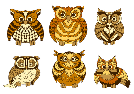 owl eyes: Different decorative cute brown cartoon owls birds with funny plumage facing the viewer. Isolated on white vector Illustration