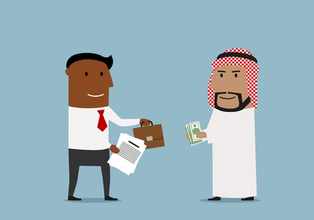 business agreement: International agreement, partnership or global market business concept. Cheerful cartoon arabian and african american business partners signing contract and exchanging documents, money and part of business Illustration