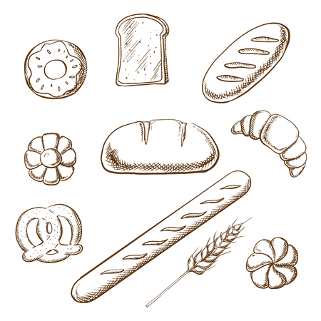 sweet bun: Bakery and pastry icons in sketch style with round loaf of rye bread encircled by long loaf, toasts, french baguette, salty pretzel and sweet cookie, donut, croissant and bun