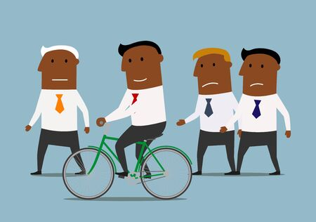 advantages: Competitive and skills advantages or business competition concept. Confident smiling cartoon dark skinned businessman riding on bicycle and leaving his competitors behind