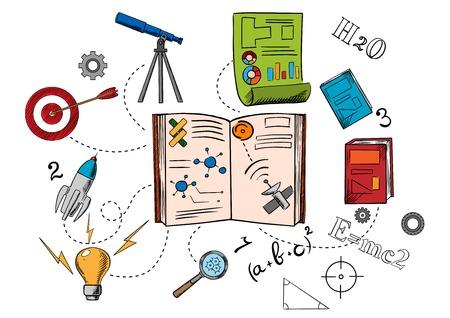 astronomie: Astronomie und Wissenschaft bunte Icons mit Raumschiff, Glühbirne, Lupe, Ziel, Teleskop, Grafik und Büchern. Sketch-Stil Illustration