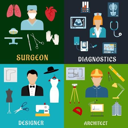 chirurgo: Chirurgo, assistente di laboratorio medico, sarto e architetto professioni icone piane con la chirurgia, diagnostica medica, di progettazione di abbigliamento e simboli edilizia