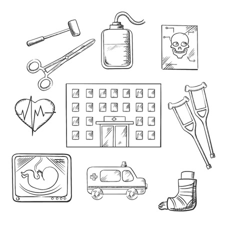 cardiograph: Hospital design with a hospital building surrounded by ambulance, x-ray, surgical tools, cardiograph, blood transfusion, skull, crutches and plaster caste. Vector sketch