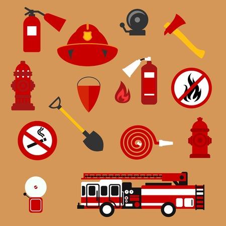 seguridad contra incendios y protección de fondo con los iconos planos de camión de bomberos, extintores, mangueras, llama del fuego, bocas de riego, casco de protección, alarmas contra incendio, hacha, pala, cubo cónico, no hay signos de fuego y fumar