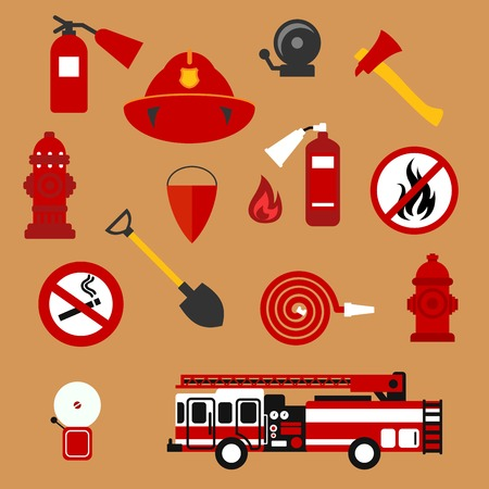 Fire safety and protection background with flat icons of fire truck, extinguishers, hose, fire flame, hydrants, protective helmet, fire alarms, axe, shovel, conical bucket, no fire and smoking signs