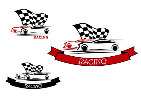 Racing sport emblems design with competition of red and black cars with fluttering checkered flag and ribbon banners Illustration