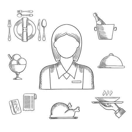 restaurant bill: Waiter profession hand drawn icons with waitress in elegant uniform, surrounded by dinner set, champagne and ice bucket, ice cream sundae, fried chicken, cloche and restaurant bill. Sketch vector