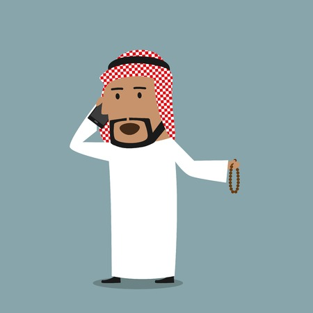 mobile communication: Cartoon arabian businessman with prayer beads in hand talking on the mobile phone. Business concept of communication and mobile technology design