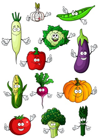 veggies: Healthful organic fresh cartoon tomato, eggplant, bell pepper, green pea, broccoli, radish, pumpkin, corn, cauliflower, asparagus, garlic and daikon vegetables. Happy veggies characters for recipe book, healthy vegetarian food or agriculture harvest desig Illustration
