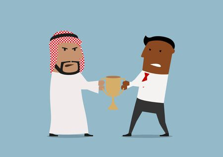 confrontation: Angry cartoon arabian and african american business competitors fighting for golden trophy. Business competition or confrontation, struggle for leadership theme design