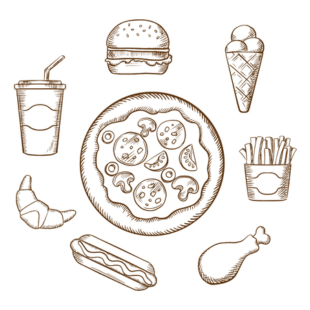 burger: Fast food with pepperoni pizza, burger, soda, french fries, ice cream cone, hot dog, croissant and chicken leg. Sketch style vector icons