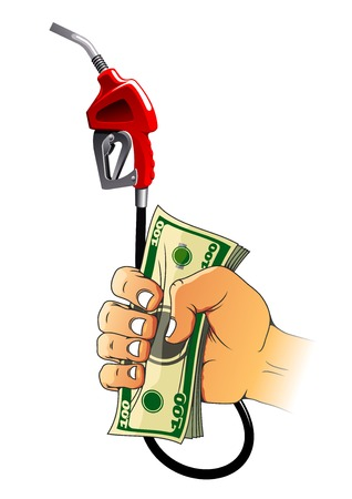 car bills: Red gasoline pump nozzle and bundle of hundred dollar bills in human hand. Great for oil and gas industry theme or finance concept