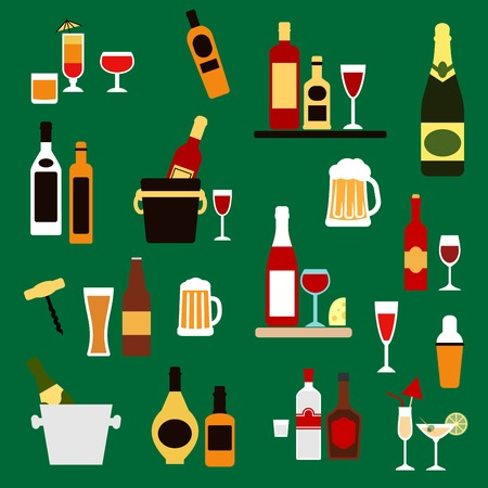 liquors: Drinks, alcohol and beverages flat icons with wine bottles, champagne, beer, whiskey, vodka, rum, gin and liquor, cocktails, ice buckets, shaker and corkscrew