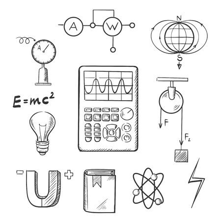 Scienza icone di sketch della serie di simboli della fisica, come magnete, energia elettrica, modello di atomo, campo magnetico terrestre, libri, formule, schemi e strumenti. Per l'istruzione o il disegno concetto scientifico