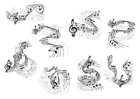 Art and music symbols with black silhouettes of notes and treble clefs on wavy and swirling musical staves. Great for art background, musical or entertainment design