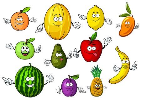 banana caricatura: dulces manzanas rojas y verdes, melocot�n, lim�n, pl�tano, pi�a, ciruela, sand�a, mango, aguacate y mel�n frutos sanos personajes de dibujos animados. Adem�s de libro de recetas, men�, o el dise�o interior de la cocina postre Vectores