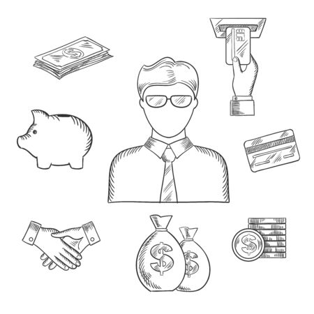 bank manager: Banker profession sketch with manager or clerk in glasses and financial icons such as money bags, credit card, handshake, piggy bank, dollar coins and bills, ATM with hand. Sketch vector Illustration