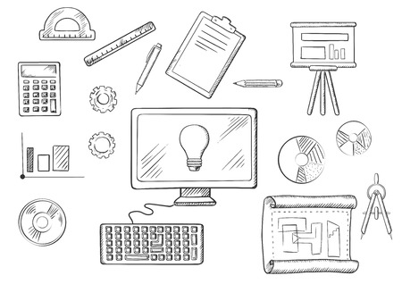 computer education: Architect or education icons with sketched desktop computer surrounded by icons of board, blueprint, graphs, calculator and a light bulb on the screen Illustration