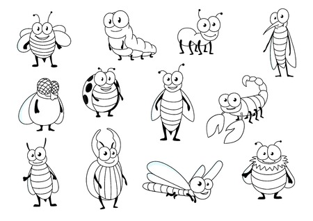 cartoon scorpion: Funny cartoon outline colorless bee, ant, ladybug, fly, caterpillar, dragonfly, mosquito, bumblebee, wasp, stag beetle, hornet and scorpion. Insect characters for mascot, children book or nature theme design