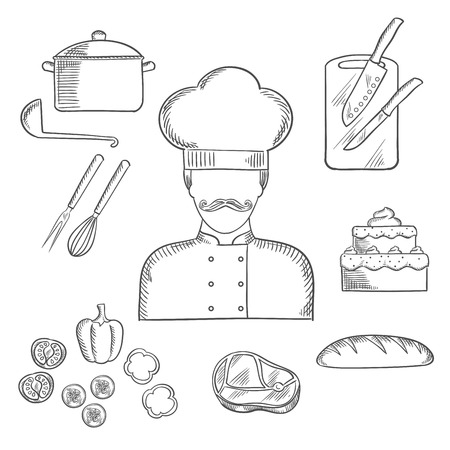 tunic: Cook profession hand drawn design with sketch of man in chef hat and tunic with bread, beef steak, pot with ladle, tiered cake, sliced fresh vegetables, chopping board with knives, whisk and fork. Sketch style vector Illustration