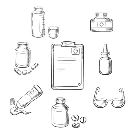 dosage: Prescription and medical sketch icons with clipboard, drugs and pills, ointment, dosage, liquid medication, dropper and glasses