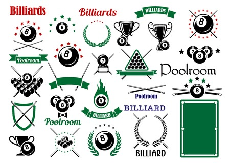 billiards cues: Billiards game and poolroom design elements for sporting emblems templates  with crossed cues, table, trophies and balls with stars and flame, heraldic shield, laurel wreaths and ribbon banners