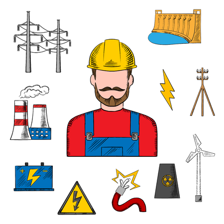 plug hat: Electricity power industry sketch design with electric station, hydro and wind energy, nuclear power plant, power lines and pylon, battery and danger warning sign with professional electrician in a helmet. Colorful sketched icons