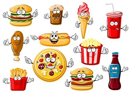 Happy cartoon menu fast food-tekens met pepperoni pizza, frietjes, hamburger, cheeseburger, hot dog, gebakken kip been, popcorn, roomijs kegel, papier kopje koffie en frisdrank drinken Vector Illustratie