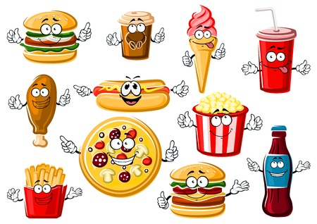 Happy cartoon fast food menu characters with pepperoni pizza, french fries, hamburger, cheeseburger, hot dog, fried chicken leg, popcorn, ice cream cone, paper cup of coffee and soda drink Illustration