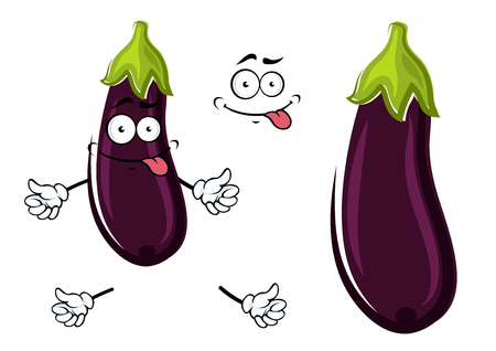 vegetable garden: Happy funky ripe purple cartoon eggplant or aubergine sticking out its tongue with a second plain variant with no face or arms. Vector illustration isolated on white