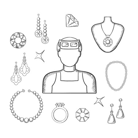 Bijoutier ou profession orfèvre avec l'homme dans des verres professionnels, bijoux de luxe tels que des boucles d'oreilles fantaisie, bague et pendentif avec des pierres précieuses rouges, chaîne, bracelets et bijoux brillants