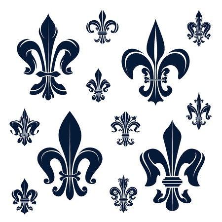 french symbol: French royal fleur-de-lis dark blue heraldic symbols with ornamental compositions of victorian leaf scrolls and curly tendrils. Heraldry, history, coat of arms, design