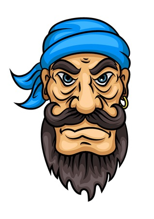 piracy: Dangerous cartoon pirate sailor or captain with curly black moustache and beard, blue bandanna and gold earring. Marine adventure, travel, mascot or piracy theme design