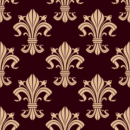 maroon background: Fleur-de-lis seamless pattern of victorian stylized lily flowers with beige curly leaves and fragile buds over maroon background. May be used as heraldic, historical backdrop or interior design Illustration
