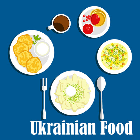 cottage cheese: Vegetarian dishes of ukrainian cuisine icon with dumplings topped with sour cream, potato pancakes with cream sauce, cabbage soup with vegetables, cottage cheese fritters with berry jam and coffee. Flat style Illustration