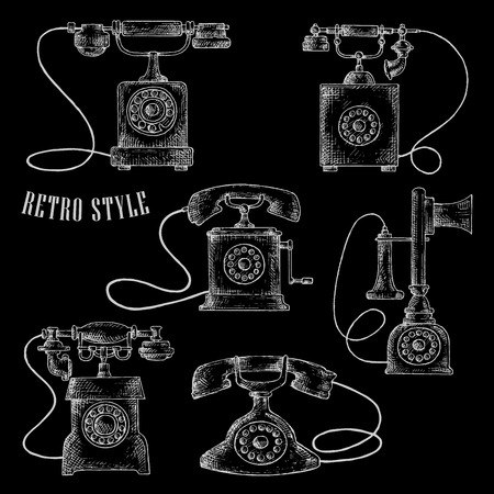 call history: Old-fashioned chalk rotary dial telephones sketch icons with vintage table phones and caption Retro Style. Addition to communication, contact us or home appliance design