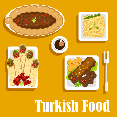 turkish dessert: Authentic turkish cuisine food with kebab filled with chilli peppers and herbs, served with potatoes and coffee cup, pilaf with orzo, shawarma durum with meat and tomatoes, pide pie with spinach and minced meat