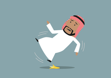 slipped: Arabian businessman in national costume slipped on a banana peel and falling down, waving hands in the air. Accident, injury and banana slip concept design