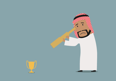 recompense: Sad cartoon arabian businessman looking at small golden trophy cup through spyglass. Business competition or disappointment theme usage