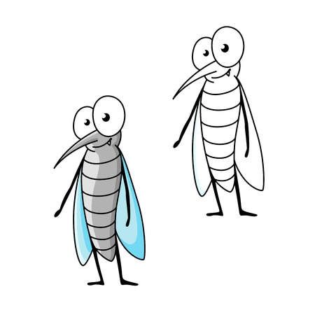 mosquito: Friendly cartoon gray mosquito standing with folded blue transparent wings. Funny insect character for children book or mascot design
