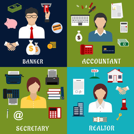 realtor: Banker, accountant, secretary and realtor professions icons with financial, real estate, banking and business office flat symbols Illustration