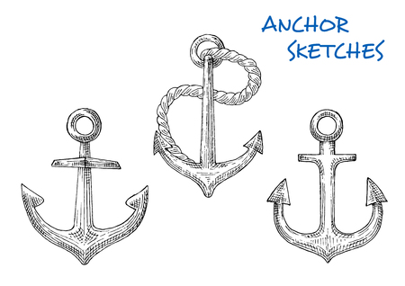 flukes: Nautical anchors in sketch style of famous fisherman anchors with short central shanks, rings, rope, curved arms with pointed flukes. Great for heraldic marine emblem, travel or vacation design