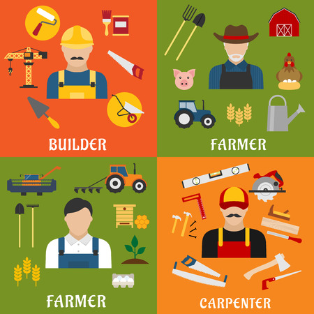 agriculture industry: Construction and agriculture industry professions icons with flat male builder, farmer, carpenter and stockbreeder with tools, equipments and machinery symbols Illustration