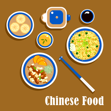 chicken rice: Chinese cuisine food icons of asian dishes with rice and chopsticks on rest, orange chicken, served with cucumbers and sliced oranges, soy sauce, cup of green tea with teapot and moon cakes
