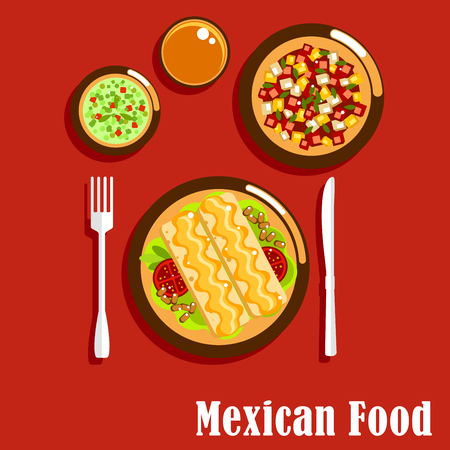 Spicy mexican cuisine food icons of enchiladas, served with beans, tomatoes and cheese sauce, green salsa verde and red salsa roja sauces with herbs and chilli pepper, summer salad with fresh vegetables. Flat style