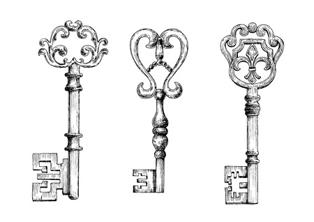 old keys: Sketch of medieval skeleton keys, adorned by victorian fleur-de-lis forged ornaments on bows. May be used as tattoo, t-shirt print or embellishment design