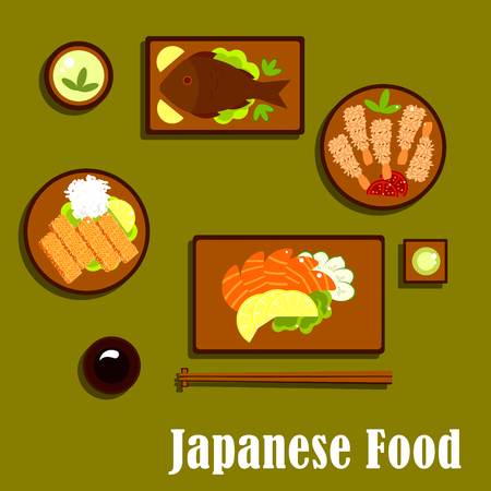 Japanese cuisine flat icons with salmon sashimi, served with cucumber and lemon, wasabi and soy sauces, deep fried tempura shrimps with sesame seeds and tomatoes, chicken teriyaki with rice and cup of green tea