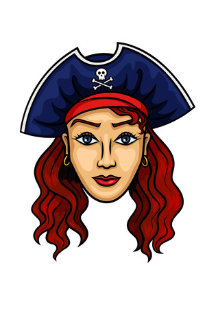 redhead woman: Pirate woman cartoon character with young redhead woman with long curly hair in pirate hat with jolly roger. Great for children books, marine adventure, traveling design usage Illustration