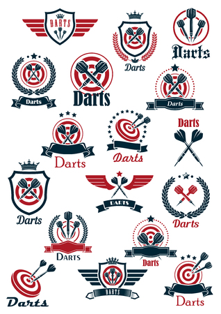 dart on target: Sporting emblems for darts game club with arrows on red dartboards and crowned medieval shields with wings, supplemented by laurel wreaths, ribbon banners and stars Illustration